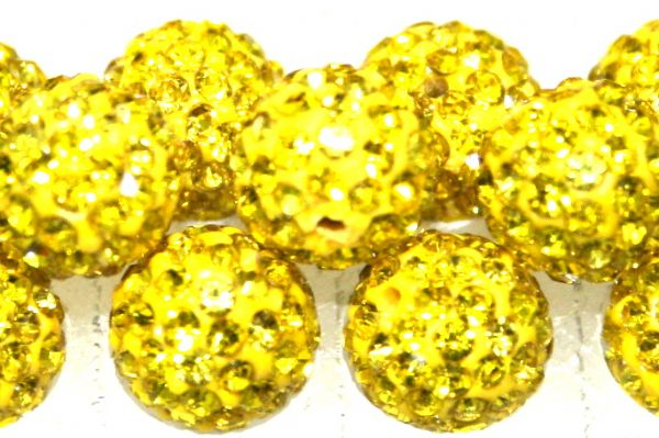 8mm Bright Yellow 70 Stone Pave Crystal Beads- Half Drilled  PCBHD08-070-016